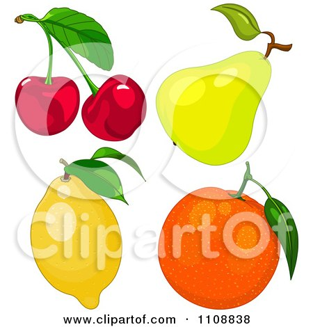 Clipart Cherries A Pear Lemon And Orange - Royalty Free Vector Illustration by Pushkin