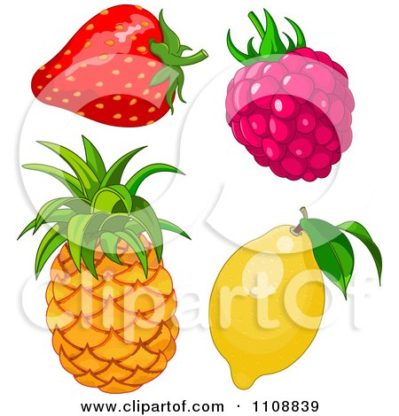Clipart Strawberry Raspberry Pineapple And Lemon - Royalty Free Vector Illustration by Pushkin