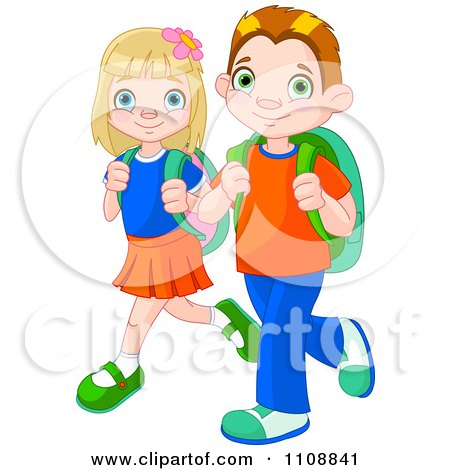 Clipart Boy And Girl Walking To School With Backpacks - Royalty Free Vector Illustration by Pushkin