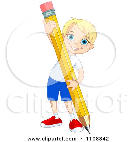 Clipart Happy School Boy Writing With A Giant Pencil - Royalty Free Vector Illustration by Pushkin
