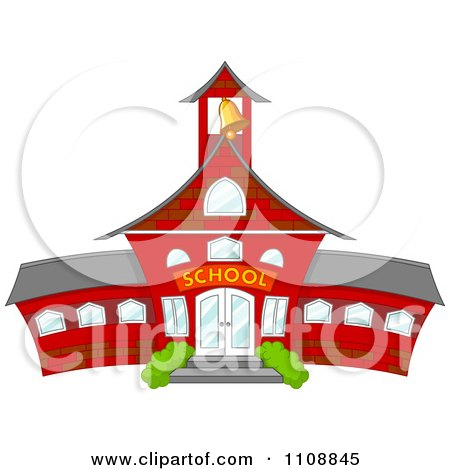 Clipart Bell Ringing In A Tower Of A Red School - Royalty Free Vector Illustration by Pushkin