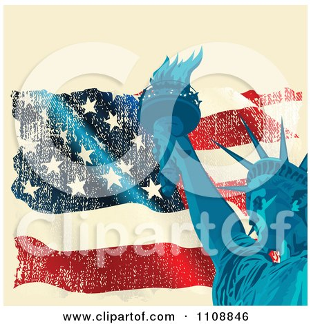 Clipart Statue Of Liberty And Torch Over A Grungy American Flag On Beige - Royalty Free Vector Illustration by Pushkin