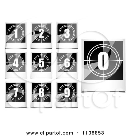 Clipart Black And White Polaroid Photo Count Down Numbers - Royalty Free Vector Illustration by michaeltravers