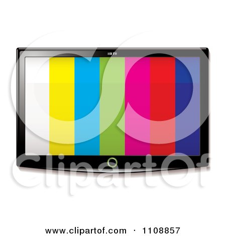 Clipart 3d Flat Screen Tv With Stripes On The Display - Royalty Free Vector Illustration by michaeltravers