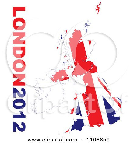 Clipart London 2012 Text With A British Union Jack Flag On White - Royalty Free Vector Illustration by michaeltravers