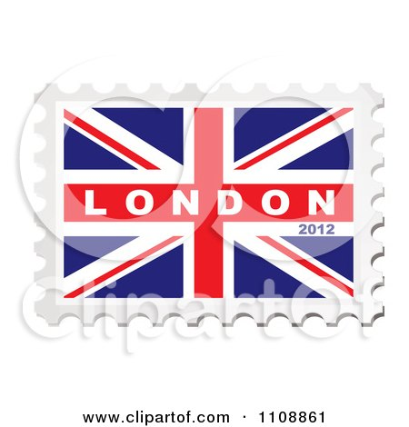 Clipart London 2012 Text On A British Union Jack Flag Stamp - Royalty Free Vector Illustration by michaeltravers