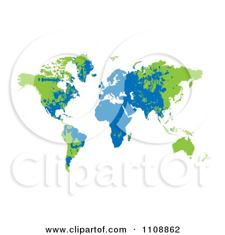 Clipart Grungy Blue And Green World Atlas - Royalty Free Vector Illustration by michaeltravers