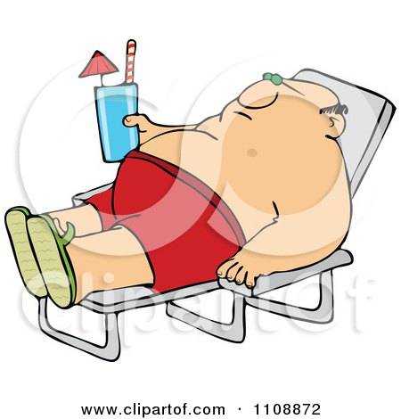 Clipart Chubby Man Sun Bathing And Holding A Beverage - Royalty Free Vector Illustration by djart