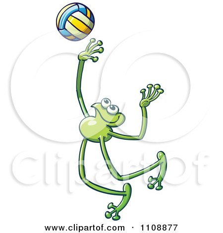 Clipart Athletic Volleyball Player Frog - Royalty Free Vector Illustration by Zooco