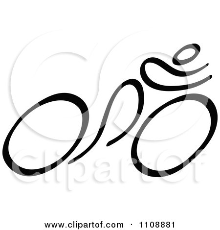 Clipart Black And White Stick Drawing Of A Cyclist - Royalty Free Vector Illustration by Zooco