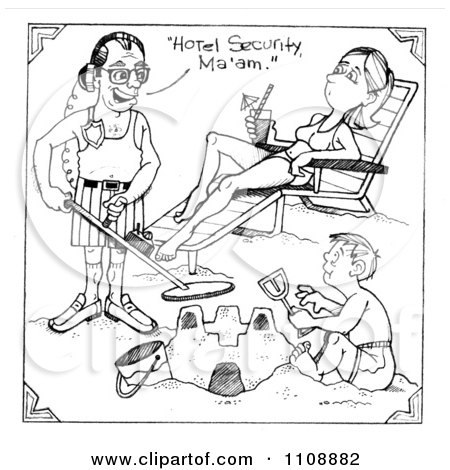 Clipart Man Using A Metal Detector By Hotel Guests And Stating Hes Security - Royalty Free Illustration by LoopyLand