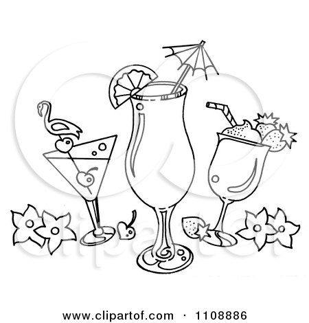 Clipart Black And White Tropical Cocktail Beverages - Royalty Free Illustration by LoopyLand