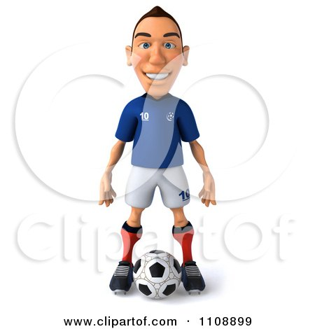 Clipart 3d White French Soccer Player 1 - Royalty Free CGI Illustration by Julos