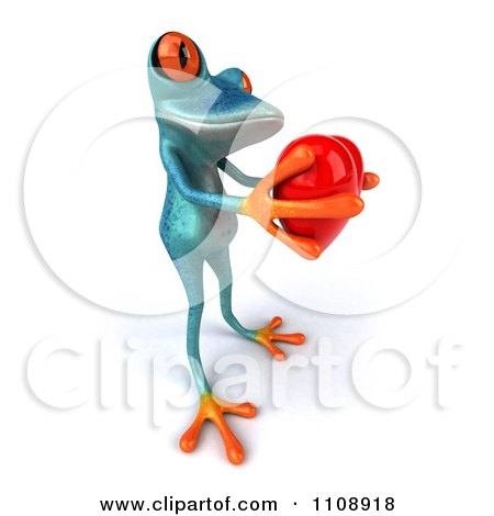 Clipart 3d Turquoise Springer Frog Holding A Heart 4 - Royalty Free CGI Illustration by Julos