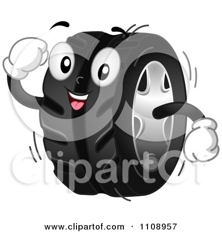 Clipart Happy Automotive Tire Mascot - Royalty Free Vector Illustration by BNP Design Studio