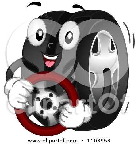 Clipart Happy Automotive Tire Mascot Holding A Steering Wheel - Royalty Free Vector Illustration by BNP Design Studio