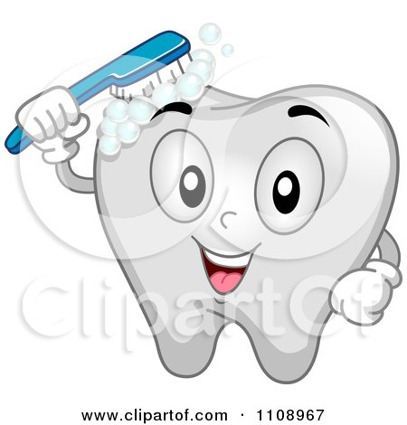 Clipart Happy Brushing Dental Tooth Mascot - Royalty Free Vector Illustration by BNP Design Studio