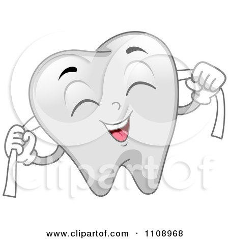 Clipart Happy Dental Tooth Mascot Flossing - Royalty Free Vector Illustration by BNP Design Studio