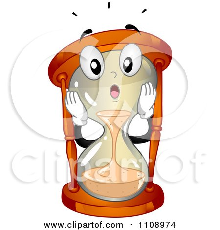 Clipart Happy Hourglass Mascot Running Out Of Time - Royalty Free Vector Illustration by BNP Design Studio