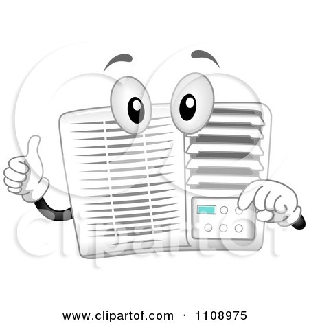 Clipart Happy Air Conditioner Mascot Holding A Thumb Up - Royalty Free Vector Illustration by BNP Design Studio