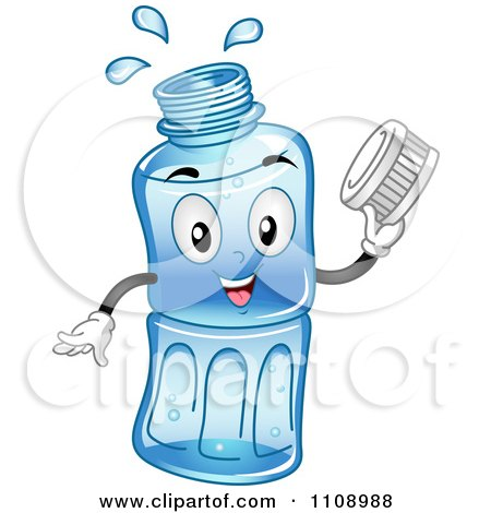 Clipart Happy Bottled Water Mascot Holding A Cap - Royalty Free Vector Illustration by BNP Design Studio