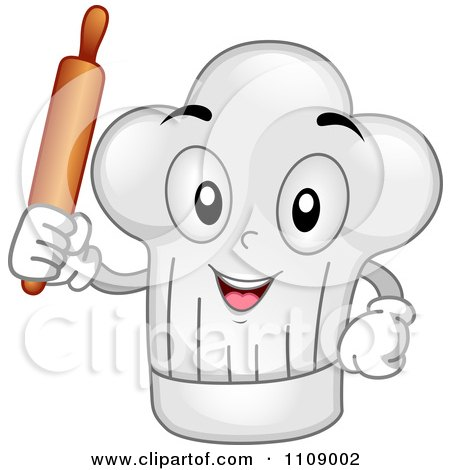 Clipart Happy Chef Hat Mascot Holding A Rolling Pin - Royalty Free Vector Illustration by BNP Design Studio