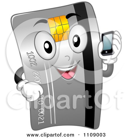 Clipart Happy Credit Card Mascot Holding A Cell Phone - Royalty Free Vector Illustration by BNP Design Studio