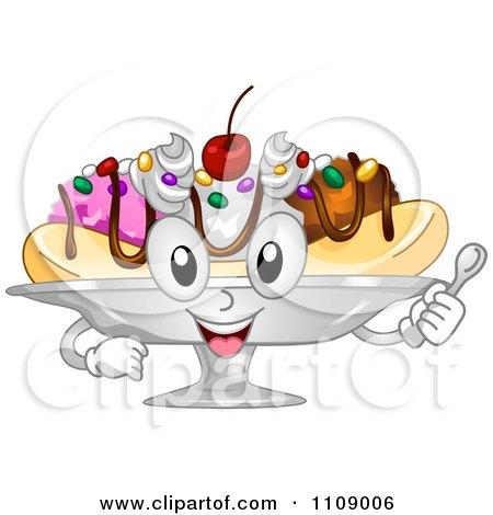 Clipart Happy Banana Split Dessert Mascot - Royalty Free Vector Illustration by BNP Design Studio