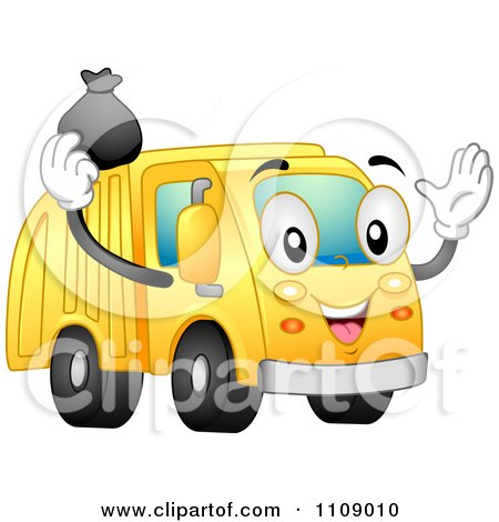 Clipart Happy Garbage Truck Mascot Tossing A Bag Into Its Container - Royalty Free Vector Illustration by BNP Design Studio