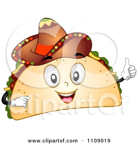 Clipart Happy Taco Mascot Holding A Thumb Up And Wearing A Sombrero - Royalty Free Vector Illustration by BNP Design Studio