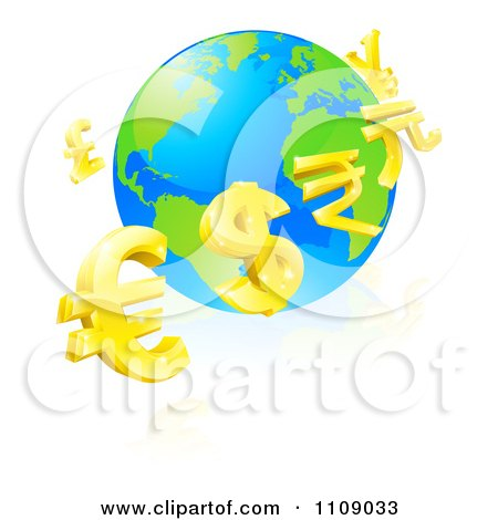 Clipart 3d Gold Currency Signs Floating Around A Globe - Royalty Free Vector Illustration by AtStockIllustration
