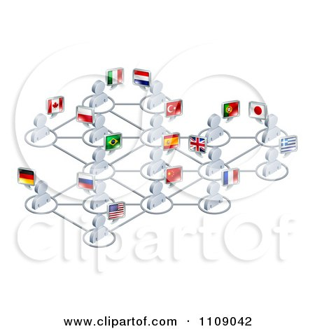 Clipart Network Of 3d Avatar People With Flags - Royalty Free Vector Illustration by AtStockIllustration