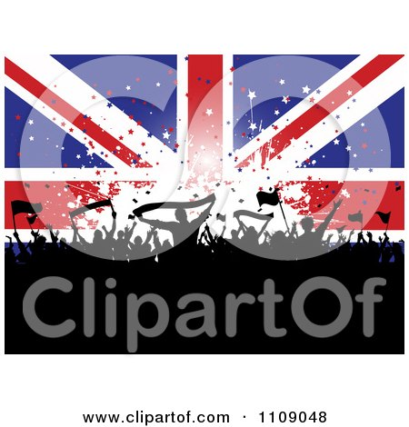 Clipart Cheering Silhouetted Crowd With Banners And Flags Against A Union Jack Banner With Stars - Royalty Free Vector Illustration by KJ Pargeter