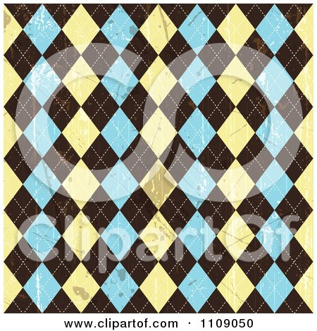 Clipart Grungy Seamless Beige Brown And Blue Argyle Pattern With Stains - Royalty Free Vector Illustration by KJ Pargeter