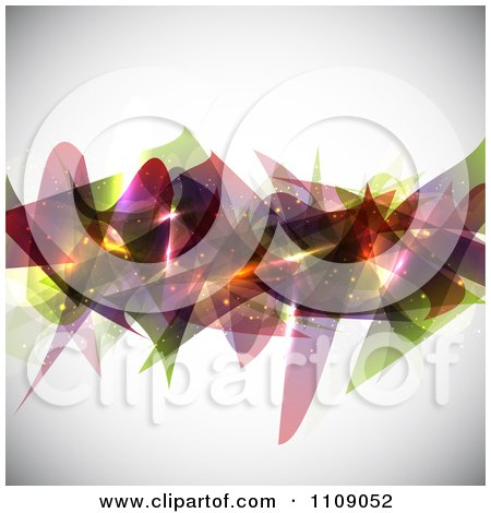 Clipart Background Of Abstract Shapes And Glowing Sparkles On Shaded Gray - Royalty Free Vector Illustration by KJ Pargeter