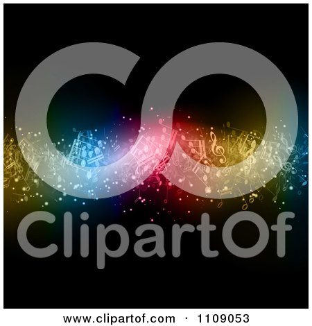 Clipart Wave Of Floating Music Notes And Colorful Lights On Black - Royalty Free Vector Illustration by KJ Pargeter