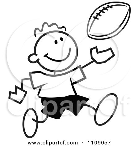 Clipart Black And White Sticker Football Player Boy - Royalty Free Vector Illustration by Johnny Sajem