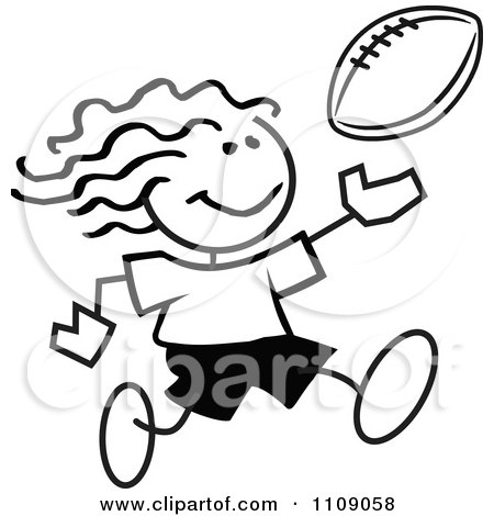Clipart Black And White Sticker Football Player Girl - Royalty Free Vector Illustration by Johnny Sajem