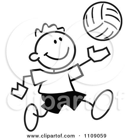 Clipart Black And White Sticker Volleyball Player Boy - Royalty Free Vector Illustration by Johnny Sajem