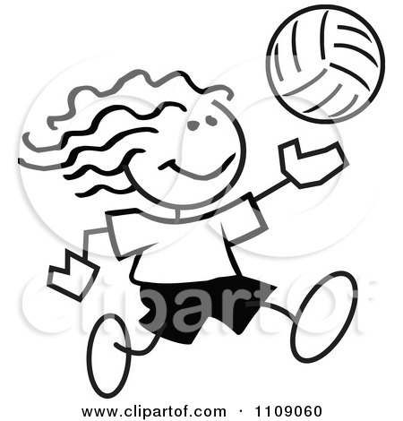 Clipart Black And White Sticker Volleyball Player Girl - Royalty Free Vector Illustration by Johnny Sajem