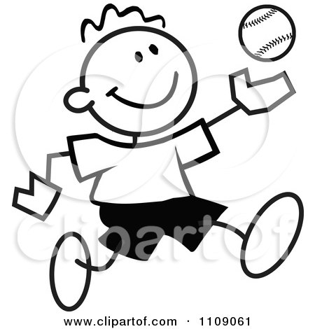 Clipart Black And White Sticker Baseball Player Boy - Royalty Free Vector Illustration by Johnny Sajem
