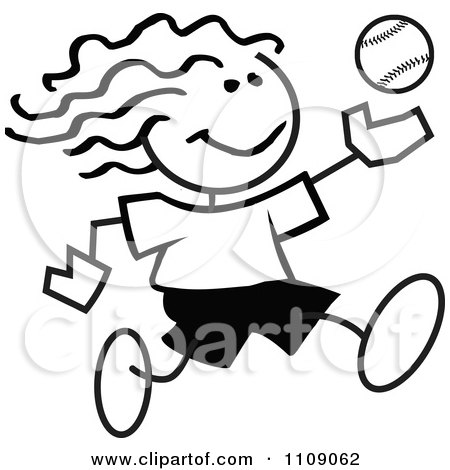 Clipart Black And White Sticker Baseball Player Girl - Royalty Free Vector Illustration by Johnny Sajem