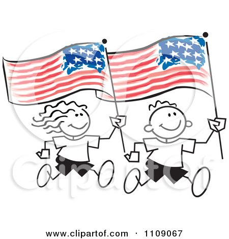 Clipart Sticker Kids Running With American Flags - Royalty Free Vector Illustration by Johnny Sajem