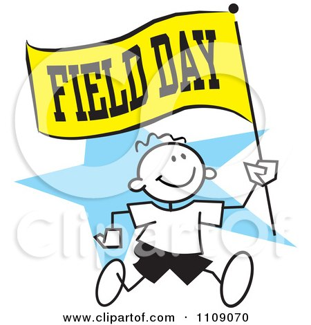 clipart sticker boy running with a field day flag over a blue star rh clipartof com field day clip art free field day clip art free
