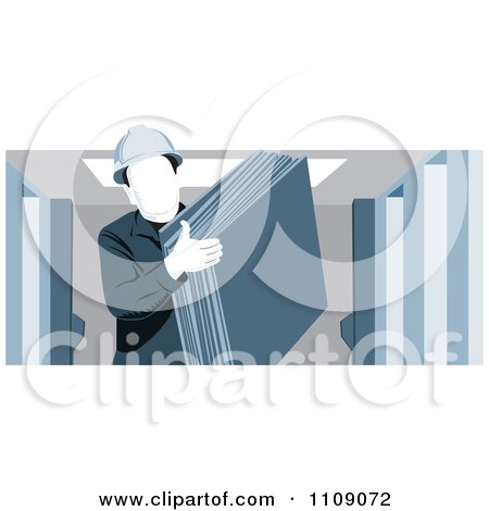 Clipart Industrial Warehouse Worker Man Carrying Slabs Of Cardboard - Royalty Free Vector Illustration by David Rey