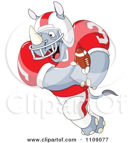 Clipart American Football Rhino Running - Royalty Free Vector Illustration by yayayoyo