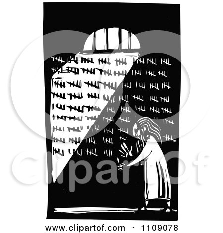 Clipart Prisoner Counting His Days In His Cell Black And White Woodcut - Royalty Free Vector Illustration by xunantunich