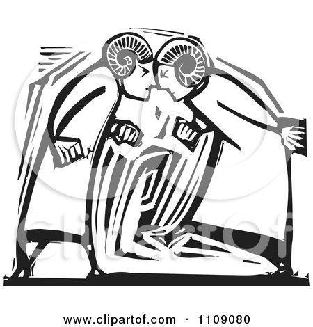 Clipart Two Ram Headed Men Butting Heads Black And White Woodcut - Royalty Free Vector Illustration by xunantunich