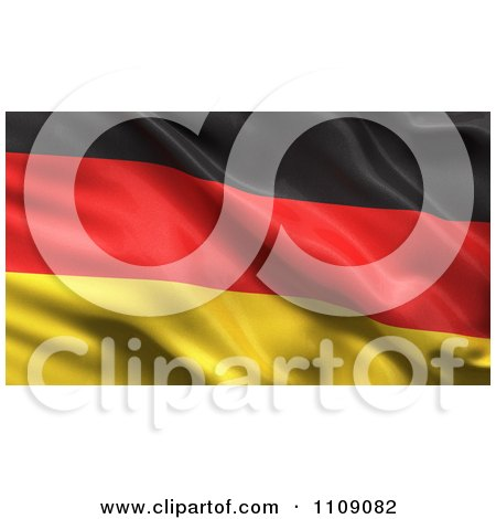 Clipart 3d Waving Silk German Flag Background - Royalty Free CGI Illustration by stockillustrations