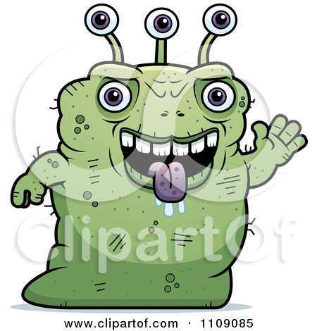 Clipart Ugly Green Alien Waving - Royalty Free Vector Illustration by Cory Thoman